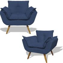 Kit  2 Poltrona Cadeira Opala Retro Decorativa Para Mesa Sala Escritório RL Decor - Suede Azul Marinho -