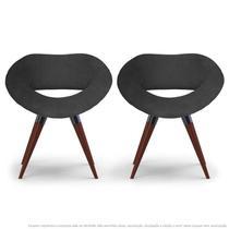 Kit 2 Poltronas Beijo Cinza Cadeiras Decorativas com Base Fixa de Madeira - Clefatos