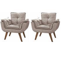 Kit 2 Poltronas Cadeiras Decorativas Giovana Suede Cappuccino Pés Palito p/ Recepção Sala De Estar Escritório Quarto - M - A Z Decor