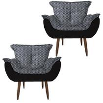 Kit 2 Poltronas Cadeiras Decorativas Opala Suede - Moveis Aguias -