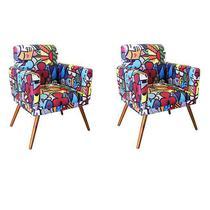 Kit 2 Poltronas Cadeiras Decorativas Sala Nina Suede Estampado Romero Brito pés castanho - B2Y Magazine