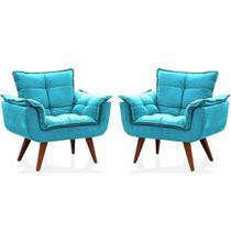 Kit 2 Poltronas Decorativa Opala Suede Azul Tifany - Twdecora -