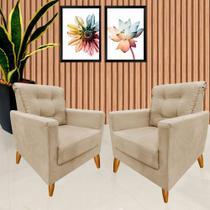 Kit 2 Poltronas Decorativa Tilla Bege - Mms Decor