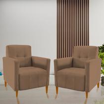 Kit 2 Poltronas Decorativas Turim Capuccino - Mms Decor