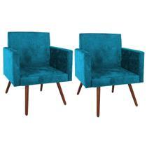 Kit 2 Poltronas Nina Luxo Pés Palito Tecido Azul Turquesa - Arte Das Cabeceiras