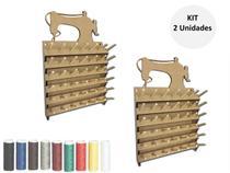 Kit 2 Porta Fio Com 42 Cones Suporte Carretel Linhas - Eptcel Arte em Mdf