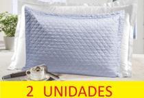 Kit 2 porta travesseiro matelado fronha sultan azul claro -