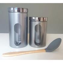 Kit 2 Pote Plástico Metálicos 1,45ml/2l E Colher De Silicone - Bandeirantes