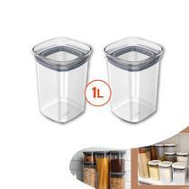 Kit 2 Pote Tampa Hermético 1l Organizador Alimento Armário Cozinha Block - Ou -