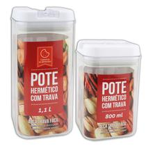 Kit 2 Potes Herméticos Em Acrílico Com Trava P/ Mantimentos - Clink