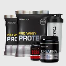 Kit 2 Pro Whey 500g + BCAA 2400 60 Tabletes + Creatina 100G + Coqueteleira Incolor Probiótica -