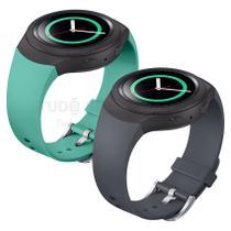 KIT 2 Pulseiras de Silicone Cinza e Verde Menta para Relógio Samsung Galaxy Gear S2 Sport - Tudo Smartwatch