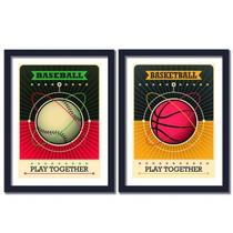 Kit 2 Quadros Decorativos - Baseball Basketball  20 x 30 cm - Kiaga