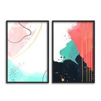 Kit 2 quadros decorativos para sala quarto abstrato colorido - Clic Store