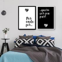Kit 2 Quadros Decorativos Quarto Casal Amor 65x45 - Arte Quadro