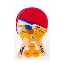 Kit 2 Raquetes + 3 Bolinhas para Ping Pong Belfix -
