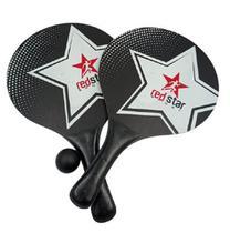 Kit 2 Raquetes+ Bola Frescobol Tênis Praia Redstar - Preto -