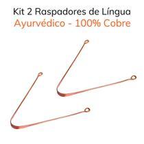 Kit 2 Raspadores de Língua Ayurvédico 100% cobre -