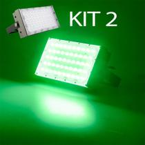 Kit 2 Refletor Led Smd 50w Modular Verde Bivolt Casa Loja Jardim - Super Led