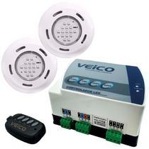 Kit 2 Refletores LED + Painel Controlador 24W 2 Saídas Auxiliares para Piscina VEICO FLUIDRA -