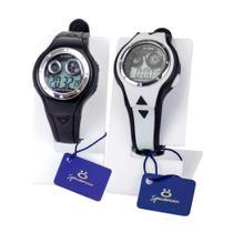 Kit 2 Relógios Infantis Digitais Preto e Branco Pulseira em Silicone - Orizom
