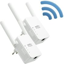 Kit 2 Repetidores Sinal Wireless Wifi 300 Mbps Wps Extensor Amplificador 2,4Ghz 2 Antenas Bivolt - Exbom