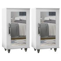 Kit 2 Sapateiras com Espelho 1 Porta Madri Branco - Lumil Móveis -