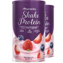 Kit 2 Shake Subs. Refeição Sanavita morango e blueberry 450g -