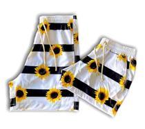 kit 2 shorts estampados iguais combinando casal moda praia verão ferias namorados amigos familia carnaval girassol - Mayamoda