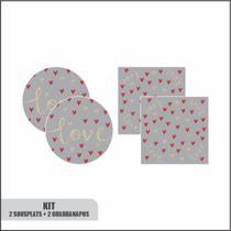 Kit 2 sousplat com base + 2 guardanapos love cinza - Nsw