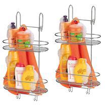 Kit 2 Suporte Duplo Aço Cromado Box Banheiro 1502 Porta Shampoo Condicionador Sabonete Toalha Arthi -