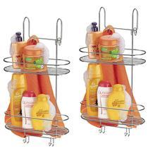 Kit 2 Suporte Duplo Box Arthi Aço Cromado Banheiro 1502 Porta Shampoo Condicionador Sabonete Toalha -