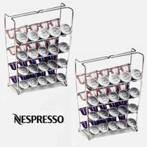 Kit 2 Suporte Porta Cápsulas de Café Expresso Nespresso Arthi 1624 Aço Cromado -
