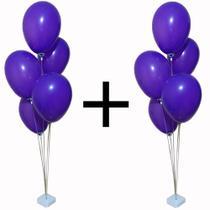 kit 2 suportes para bexigas com base e varetas suporte de balões festa imita gás hélio pé de bola - Beeprops