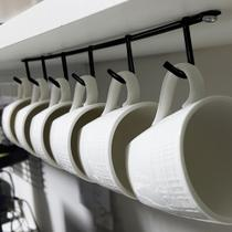 Kit 2 Suportes Porta até 6 Xícaras De Café Suspenso para Parafusar Em Aço preto - Nacional EL
