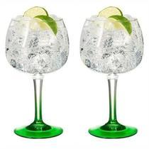 Kit 2 Taças de Gin com Base Verde em Vidro 600 ml - Decore Fácil Shop