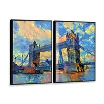 Kit 2 Telas Canvas com Moldura Pintura London Bridge - Prego E Martelo