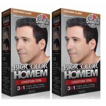 Kit 2 Tonalizante Biocolor Homem Castanho Claro -