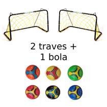 Kit 2 Traves De Futebol Infantil De Ferro Com Rede + 1 Bola Colorida - Brinq. Oliveira