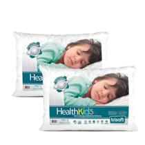 Kit 2 travesseiro infantil health kids 180 fios - trisoft -