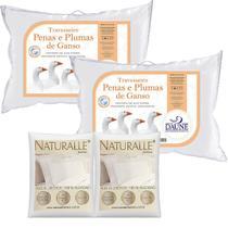 Kit 2 Travesseiros 80% Penas 20% Plumas 50x70cm com 2 Fronhas Brancas - Daune  Naturalle