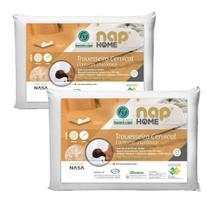 Kit 2 Travesseiros Cervical Nasa Premium Nap Home Capa Impermeável -