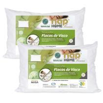 Kit 2 Travesseiros Nasa Premium Flocos de Visco Capa Impermeável - Nap Home -