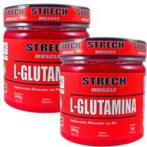 Kit 2 Un. L-Glutamina Pó 600g 120 porções 100% Pura + Laudo - Strech Muscle