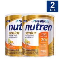 Kit 2 UN Nutren Senior Sem Sabor Zero Lactose Suplemento Alimentar 740g -