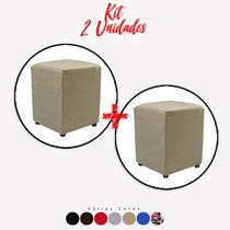 Kit 2 un Puff Quadrado Box Decorativo e-Shop Casa - Suede Bege -