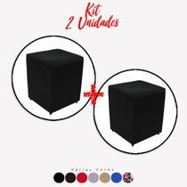 Kit 2 un Puff Quadrado Box Decorativo e-Shop Casa - Suede Preto -