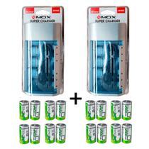 Kit 2 Unidades Carregador Universal + 16 Pilhas Tipo D Flex -