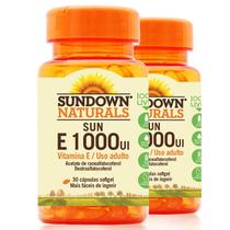 Kit 2 Vitamina E 1000 Ui Sundown 30 Cápsulas - Sundown naturals vitaminas