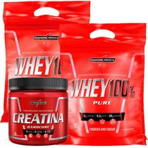Kit 2 Whey 100% Pure 907g Refil Cookies + 1 Creatina Hardcore Reload 300g - IntegralMédica - Integral Médica